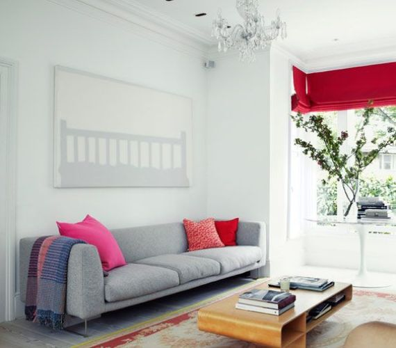 chic grey and white living room with bright details