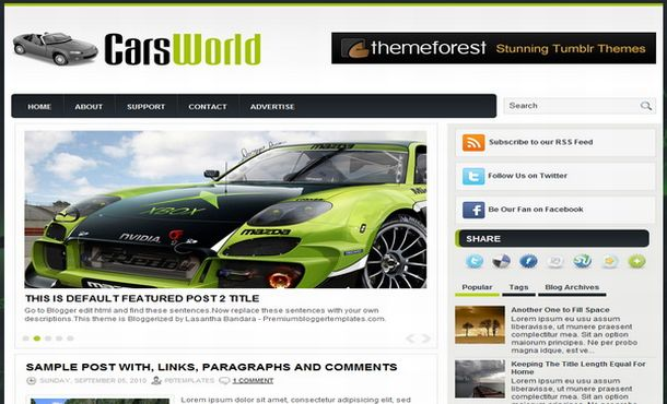 Free Cars Jquery Magazine Blogger Template