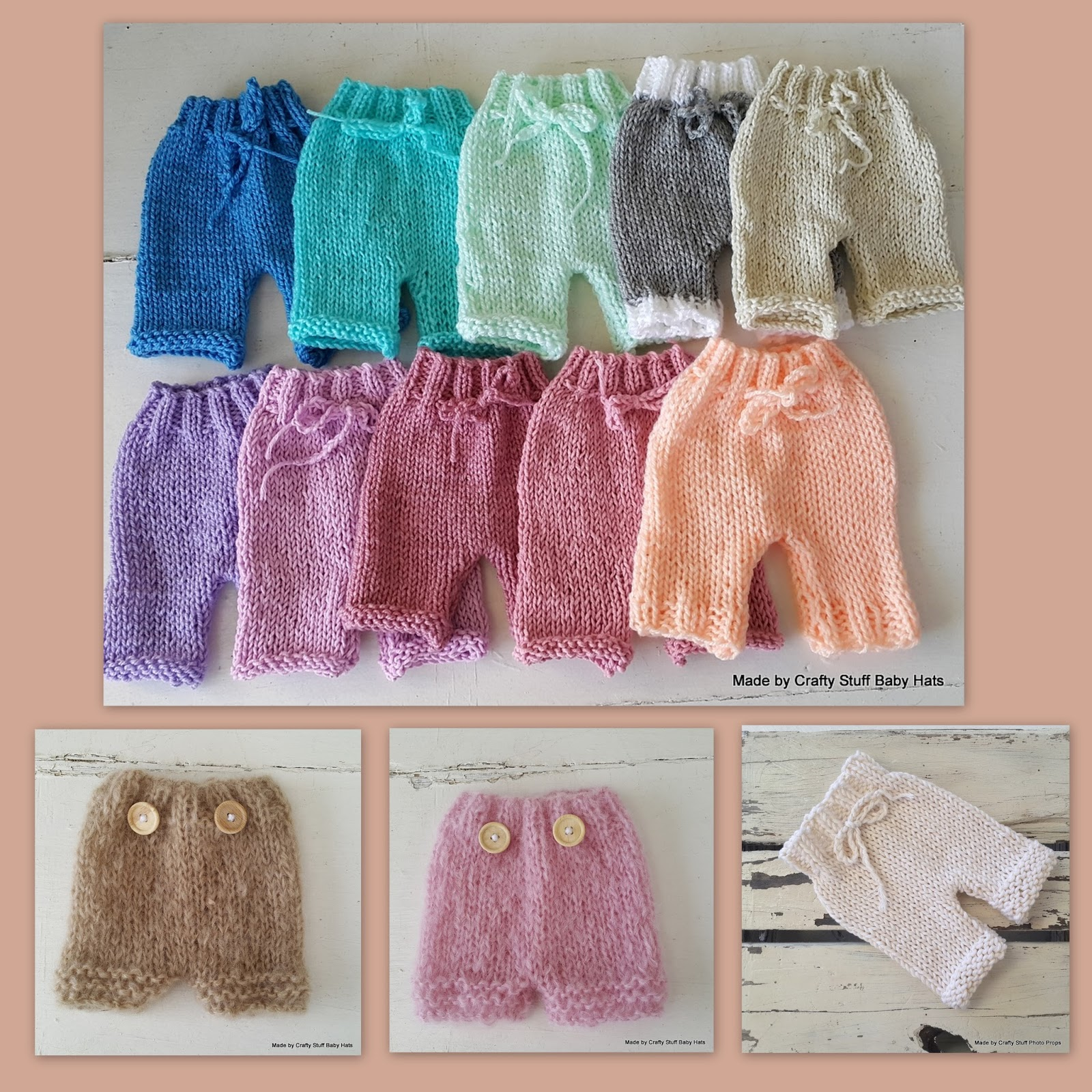 Crafty Stuff Baby Knits and Photo Props: Newborn Baby Shorts and ...