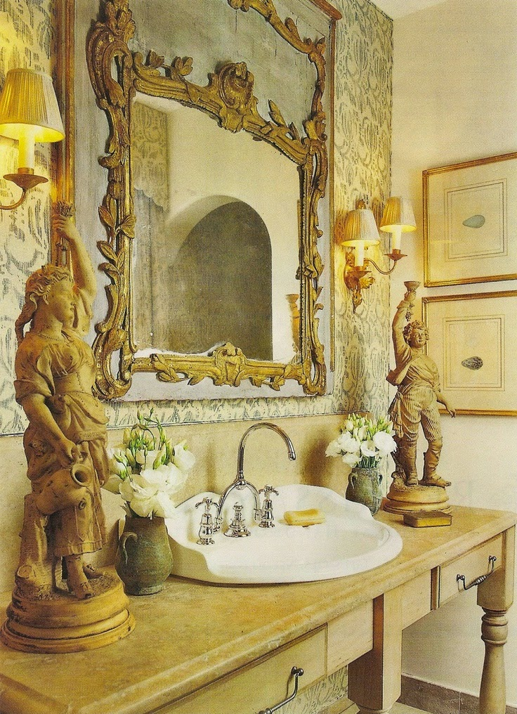 The french tangerine pretty pretty powder rooms for Country french rooms