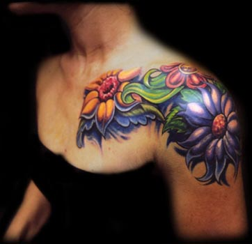 flower tattoos on shoulder for girls design ideas art mix. Black Bedroom Furniture Sets. Home Design Ideas