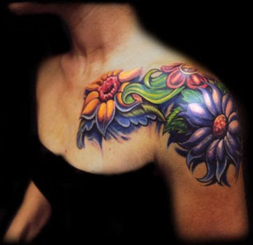 Flower tattoos on shoulder for girls design ideas