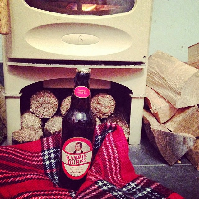 Burns Night toast by the fire