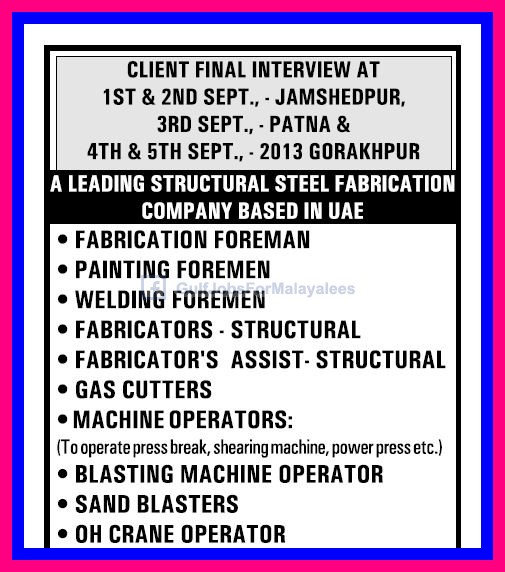 Vacancies For A Leading Structural Steel Fabrication Company Based In ...