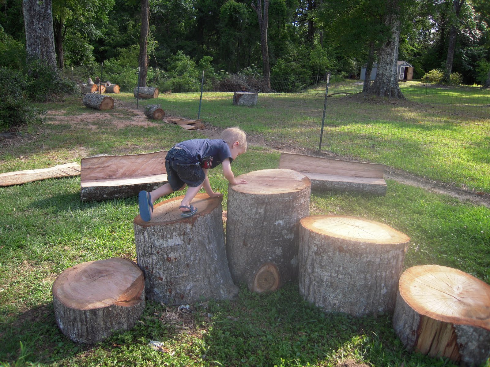 La la 39 s home daycare building our natural play area part 2 for Tall tree stump ideas