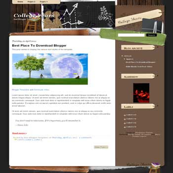 College Years Blogger Template. blogger template from wordpress theme