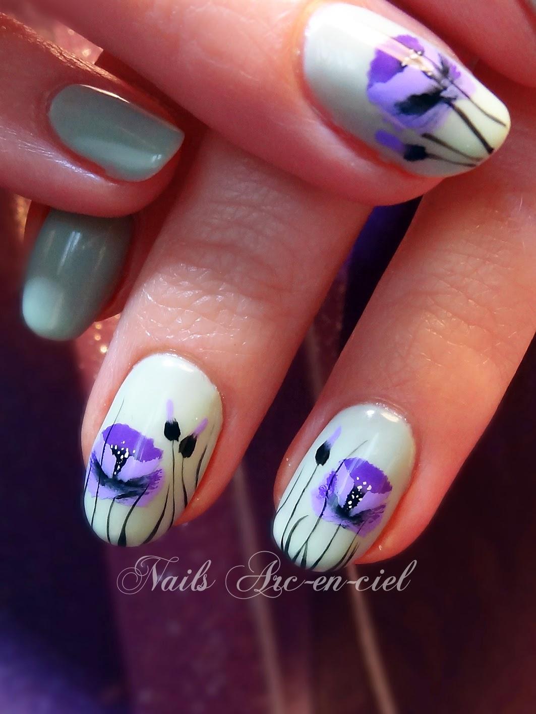 nail art one stroke fleurs
