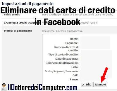 eliminare dati carta credito in facebook