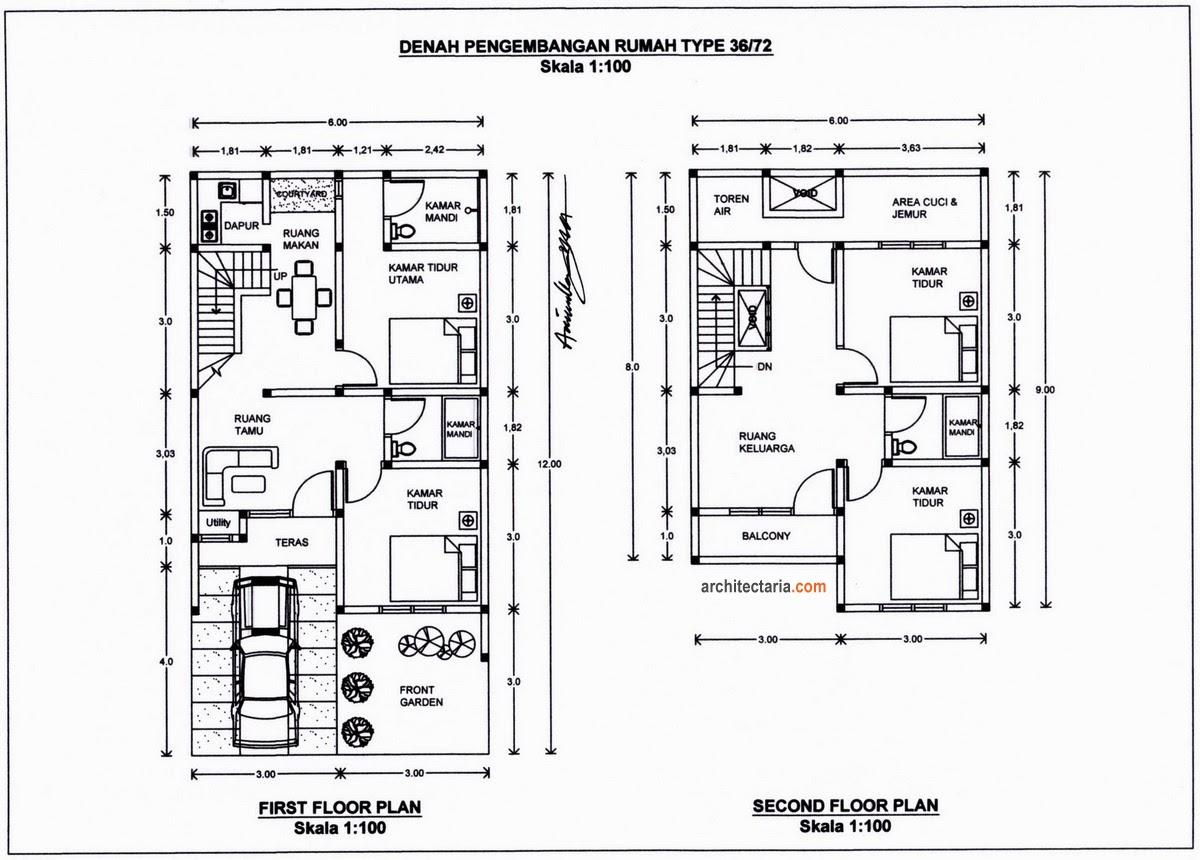 Denah Rumah Type 36x72 Terbaru 2014