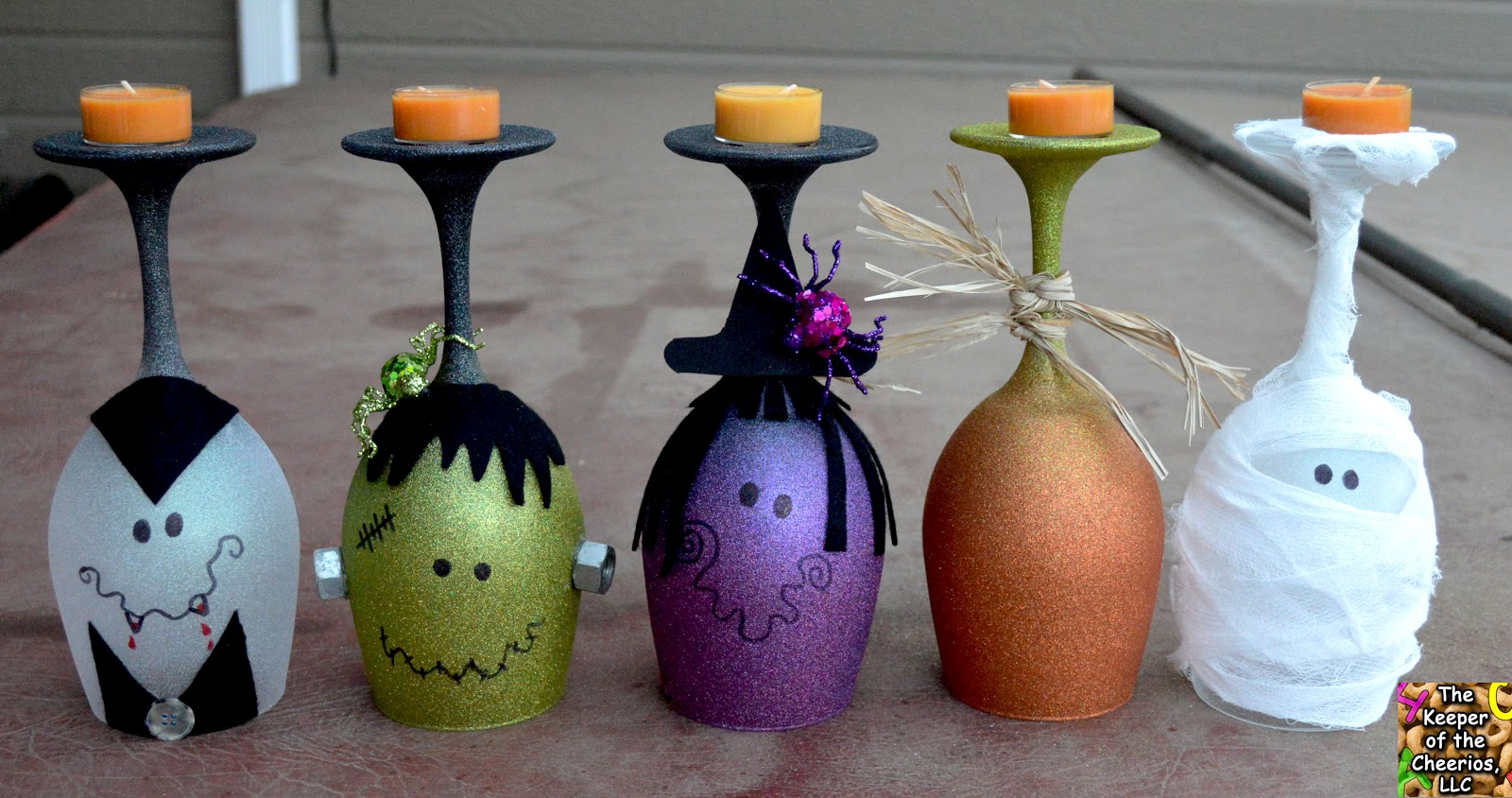 Halloween Wine Glasses Candle Holders
