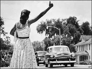 Montgomery Bus Boycott 1955-56 - Woman Hitchhiking