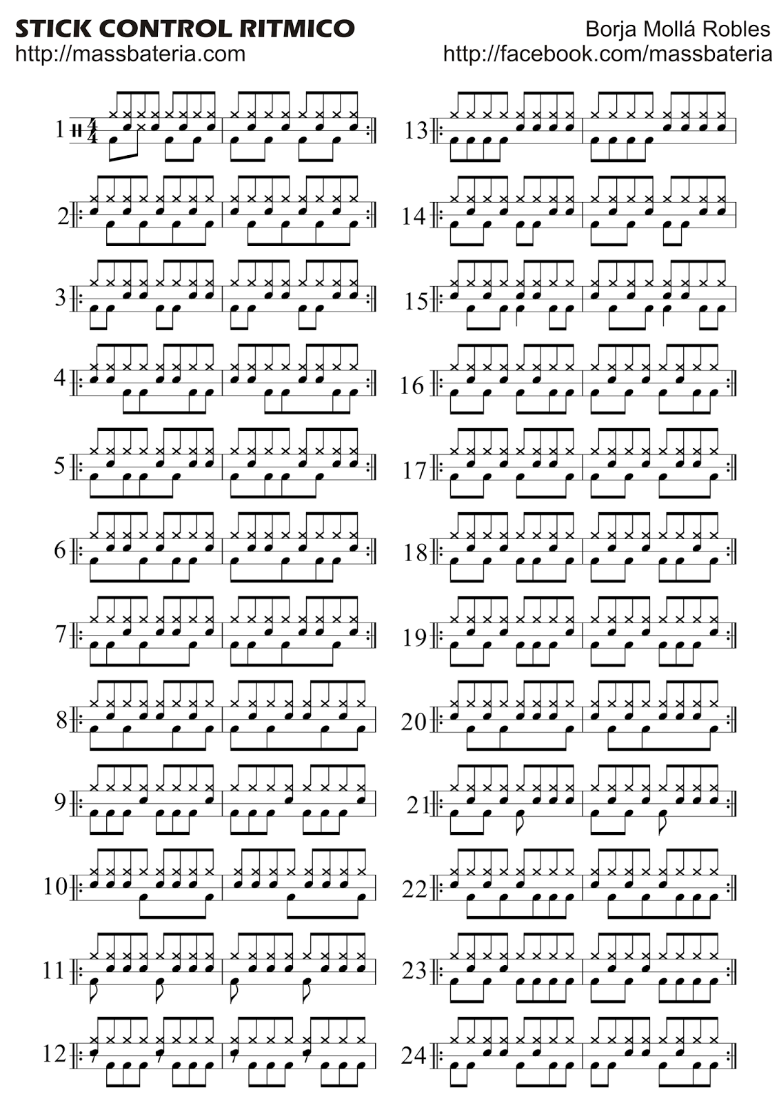 stick control ritmico primera hoja