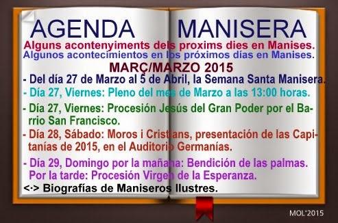 AGENDA MANISERA, SEMANA 13 DE 2015.