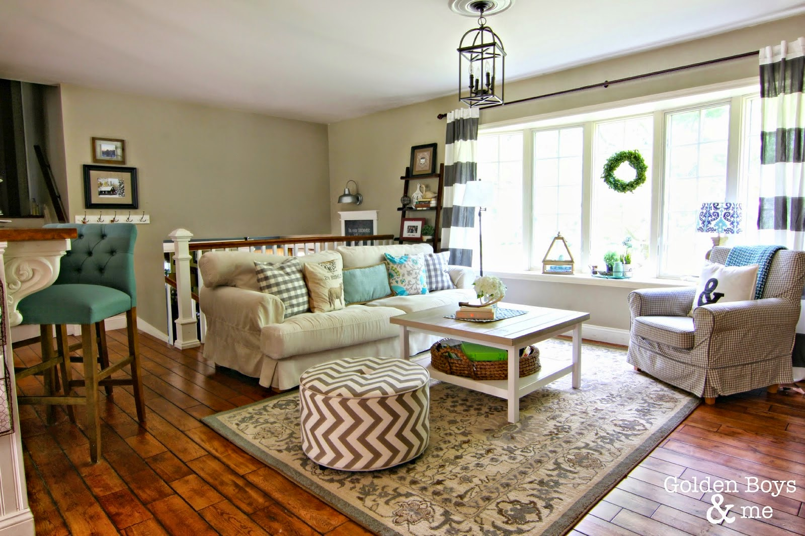 Summer Living Room With Striped Drapes, Lantern Light And Ikea Sofa And  Chair Www