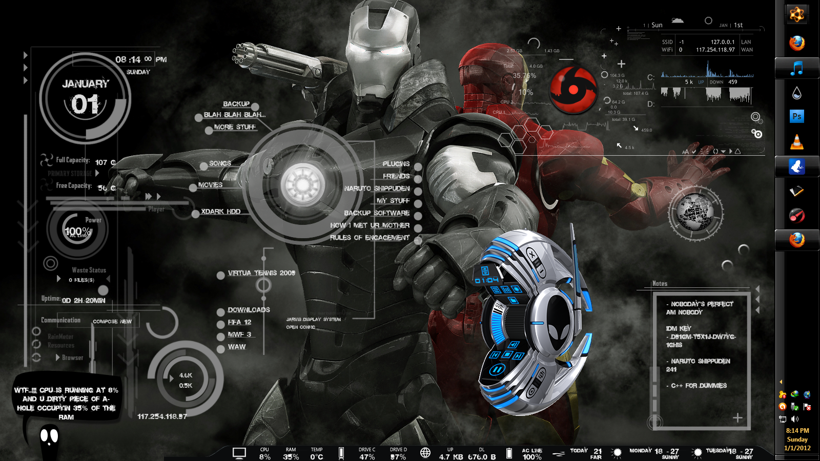 Top 5 inspiring windows 7 themes for hackers caresofts you can learn anything - Iron man jarvis background ...