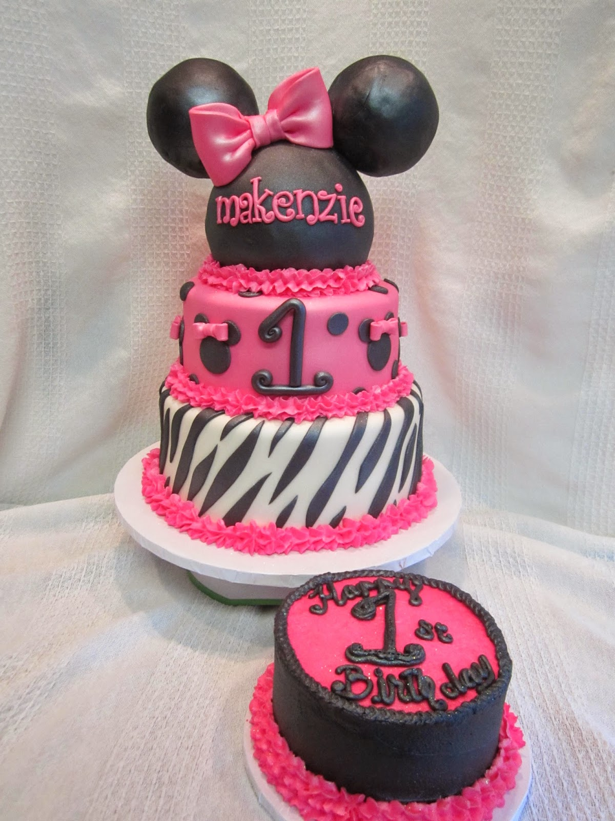 ... & Zebra Minnie Mouse Ears with Smash & First Birthday Lady Bug Cakes