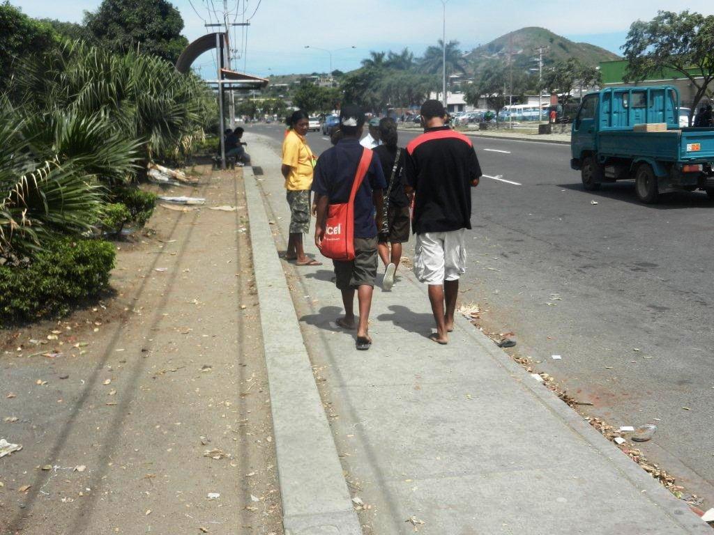 The filthy walkway along the bemobile bus stop, Waigani Drive