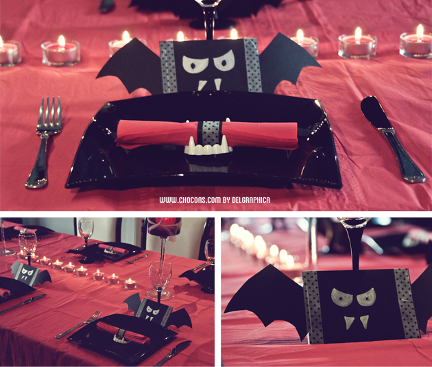 mesa decoración halloween vampiros