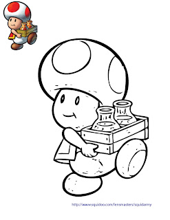 mario bros coloring pages - Toad
