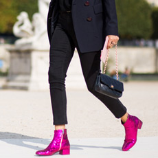 Saint Laurent glitter finished leather ankle boots, street style fashion