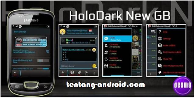 Download BBM+  Tema Holo Dark mod apk For Gingerbread