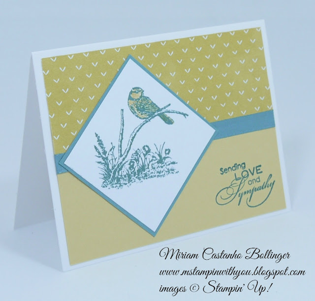 Miriam Castanho Bollinger, #mstampinwithyou, stampin up, demonstrator, ccmc358, sympathy card, lullaby dsp, moon lake stamp set, love & sympathy, su