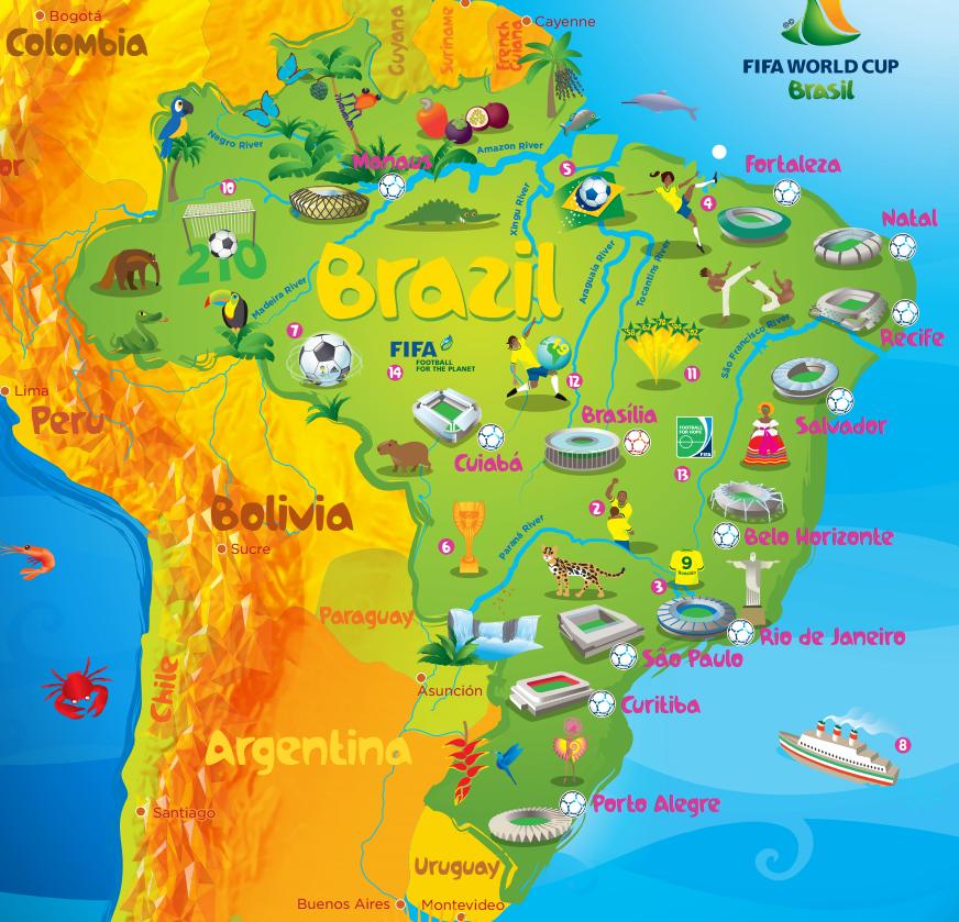 Manaus Stadium Brazil Map