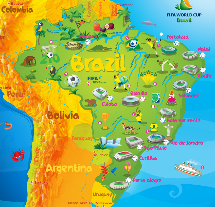 See all the details of the world cup venues map of cities and brazil2014worldcupmapbrazil stadiumsfifa veneus gumiabroncs Images