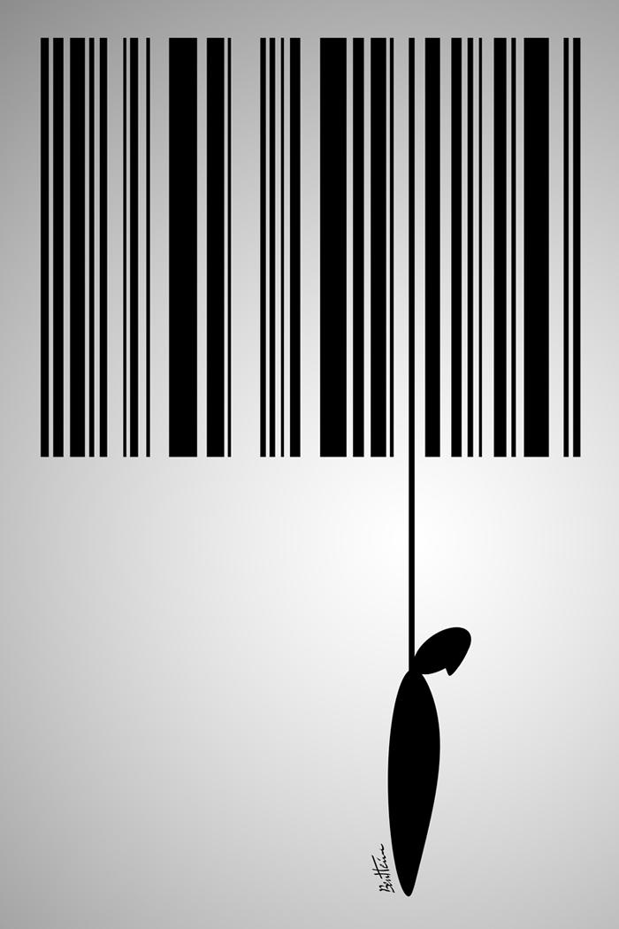 Ben Heine: Consumerism Sucks - Barcode suicide