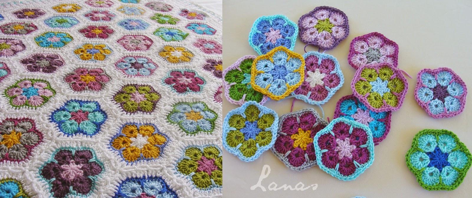 African Flower Crochet Baby Blanket Pattern : Lanas de Ana: Blanket: African Flowers
