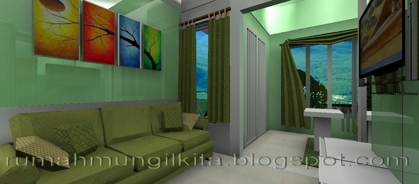 Ruang Tamu Mungil Minimalis Hijau