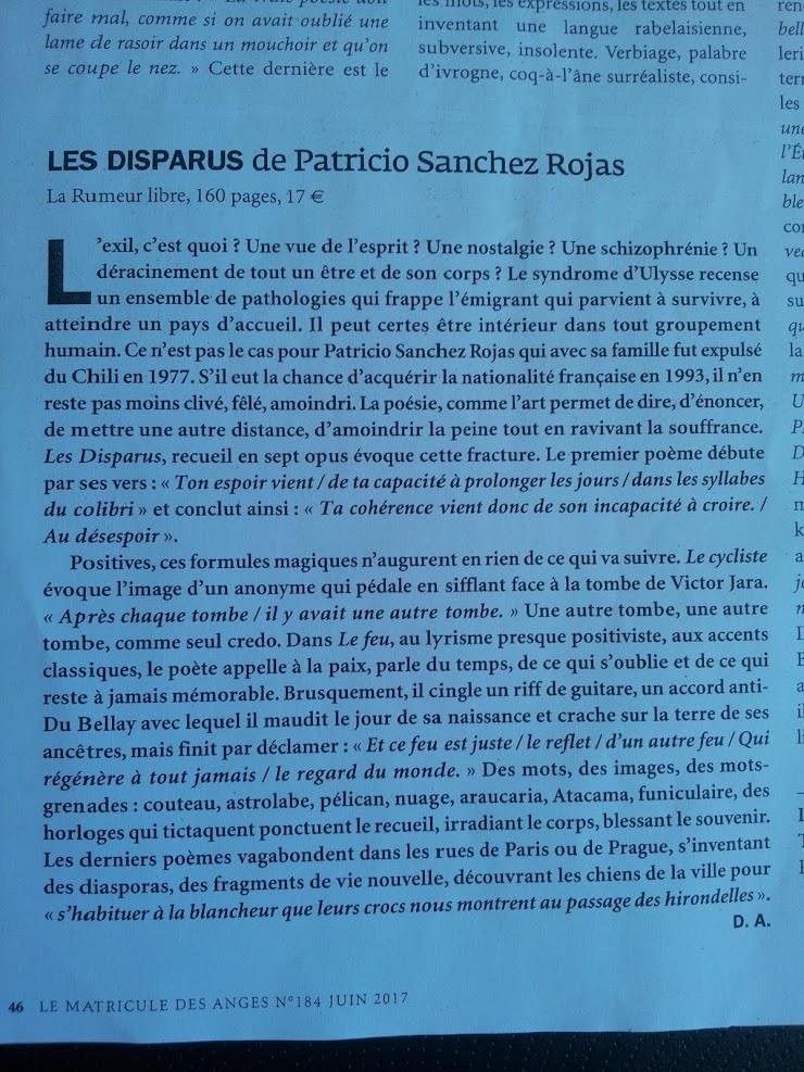 Article : Le Matricule des Anges - Patricio SANCHEZ-ROJAS - Juin 2017.-