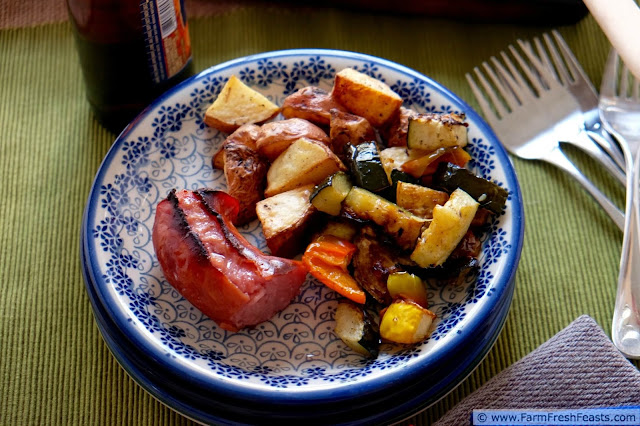 Roasted potatoes, peppers, yellow squash and zucchini with kielbasa. Fresh ingredients simply seasoned for a simple dinner when you don't have a plan in mind.