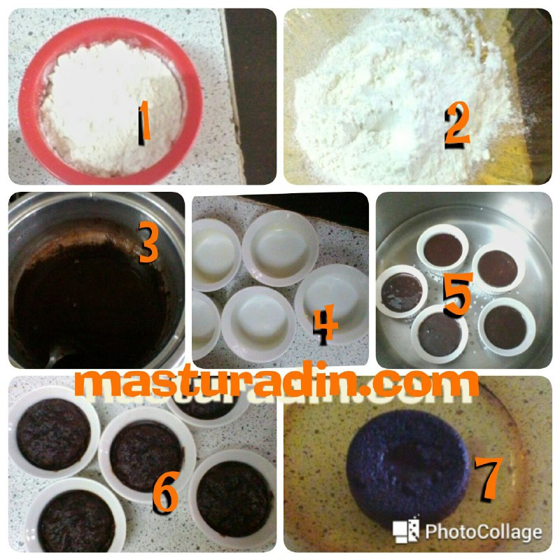 resepi kek lava kukus, kek lava mudah, bahan-bahan, cara penyediaan
