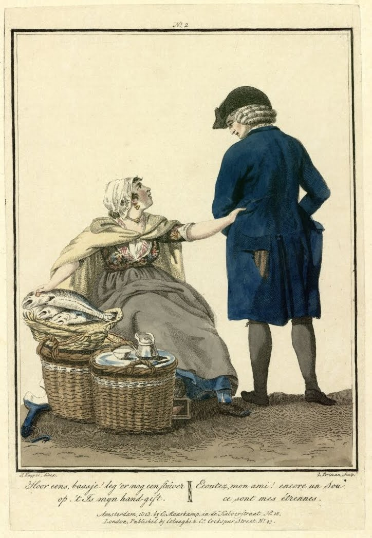 engraving of female fishmonger pleading for more money from customer