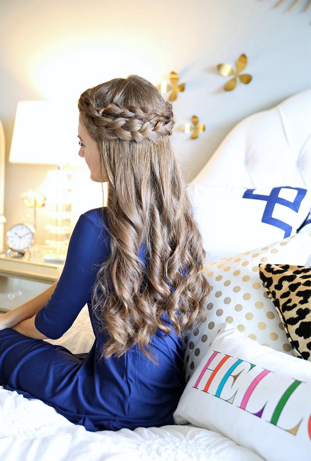 Southern Curls & Pearls Easy Crown Braid Tutorial