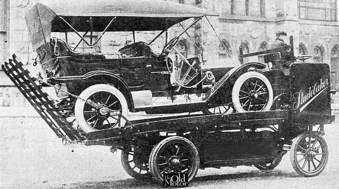 Studebacker car hauler truck. c1910 ~