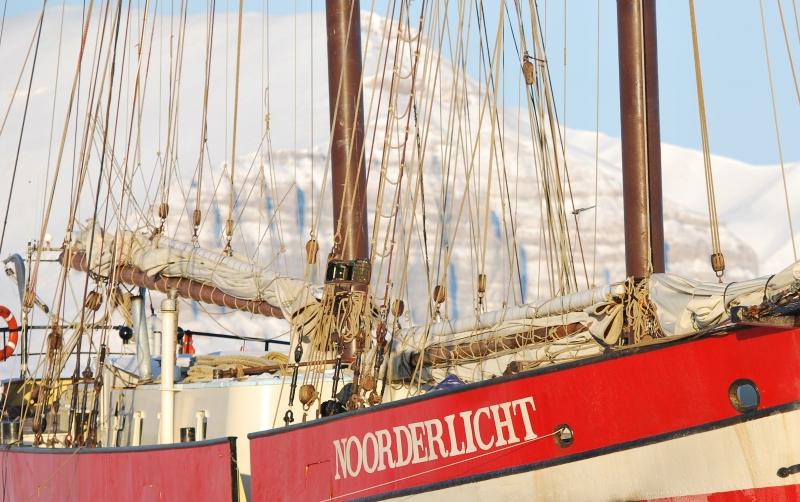 noorderlicht ship frozen in the ice in northern norway