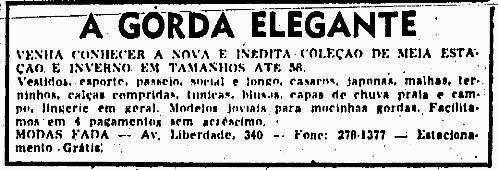 Propaganda das Modas Fada (Gorda Elegante) - 1974