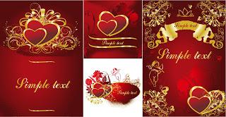 ハートで型どるバレンタインデーの背景 4 gold heartshaped pattern vector イラスト素材