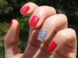 essie watermelon navy nail art