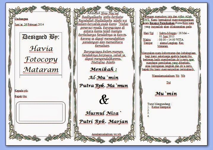 Gambar contoh Undangan Lipat Pernikahan