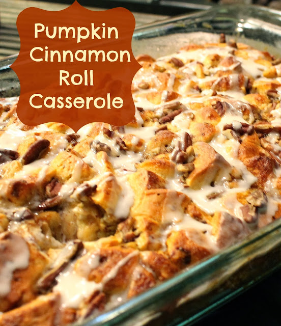 pumpkin cinnamon roll casserole fall breakfast
