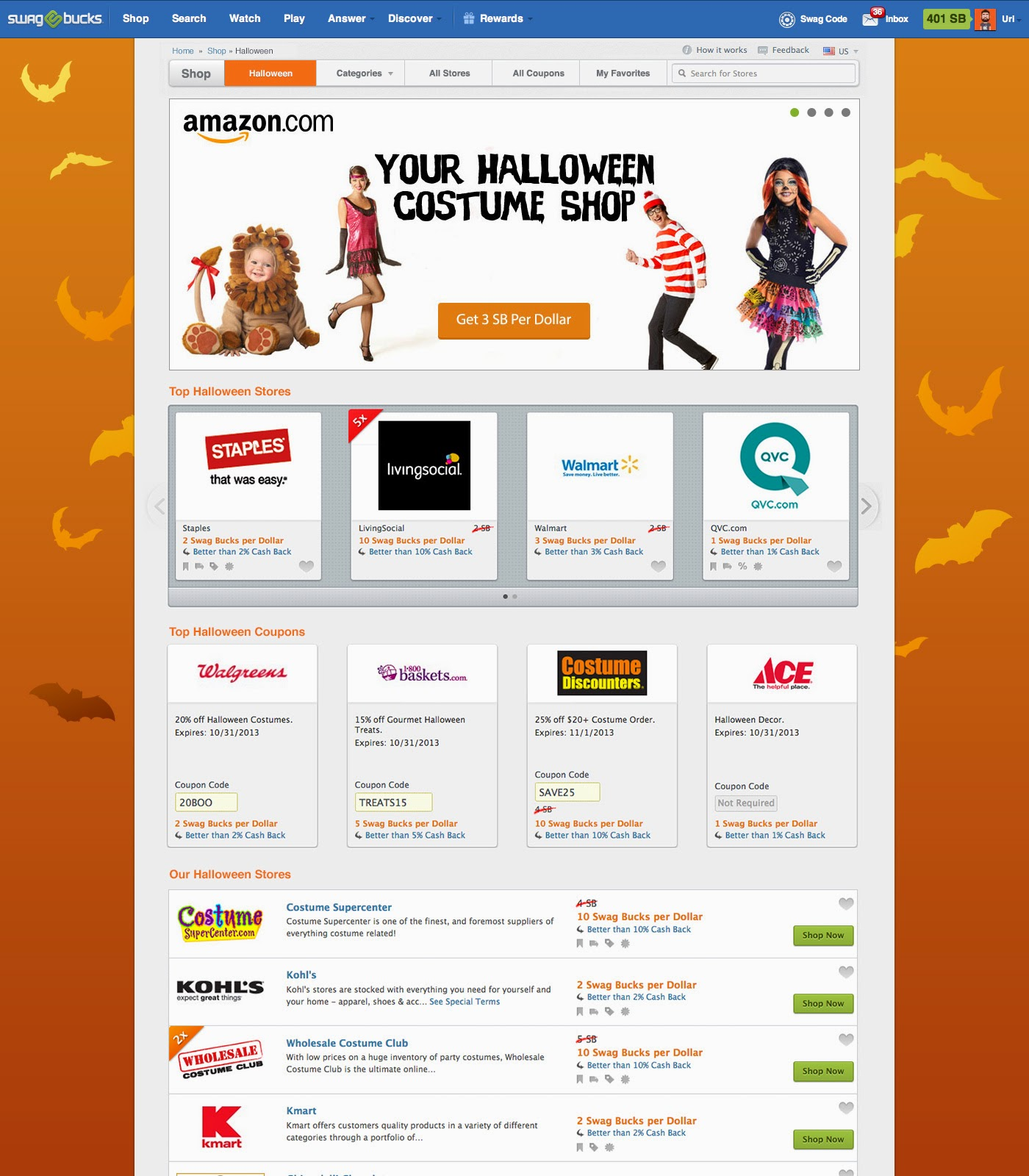 Swagbucks Amazon Halloween