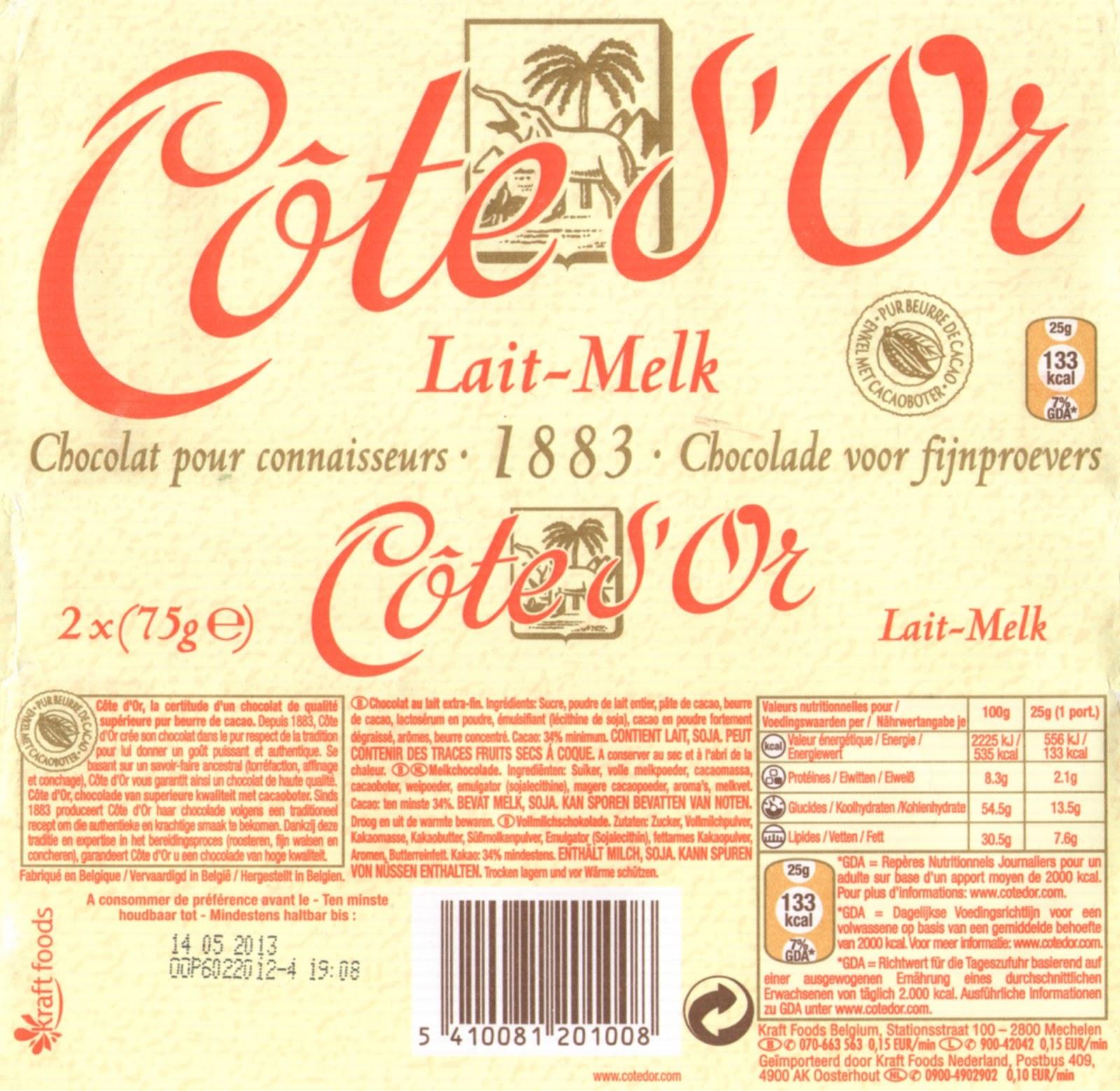 tablette de chocolat lait dégustation côte d'or lait 1883