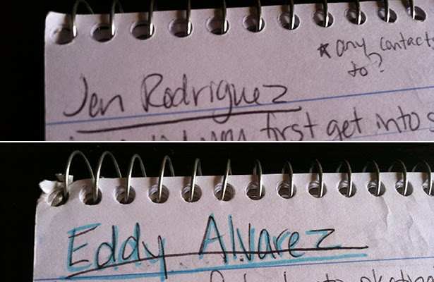 Notes taken in my reporter's notebook during interviews with speed skaters Jen Rodriguez and Eddy Alvarez