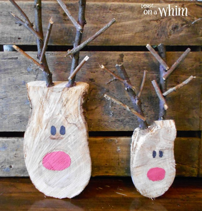 DIY Reindeer Made from Log Slices via Denise on a Whim
