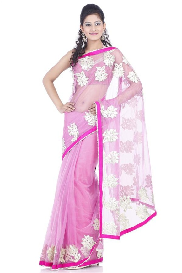 Mauve Net Saree latest