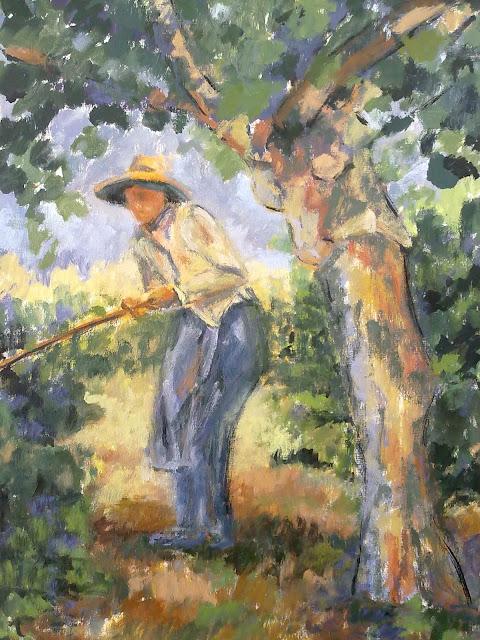 pintura al oleo, paisaje, personaje