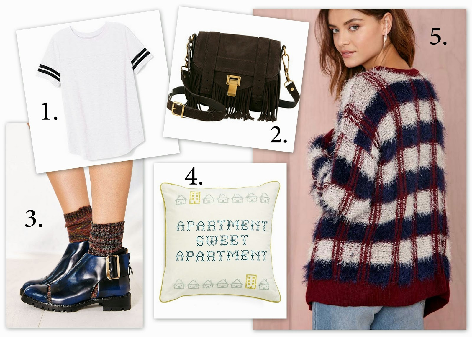 fashion, Jeffrey Campbell flamel, nordstrom, polyvore, proenza schouler, style, Victoria's Secret PINK, perfect legging tee, ps1 fringe, nasty gal checked out cardigan, back to school fashion, Fashion Faves,